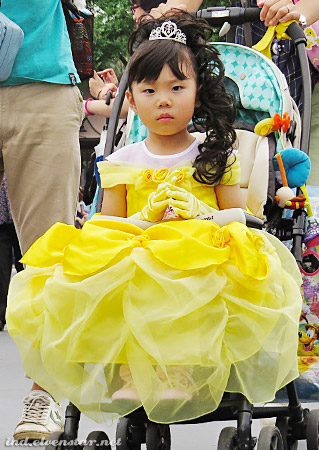 Grumpy Belle. (Kid, you're all dressed up and you dont even have to walk! Stop looking so grouchy...